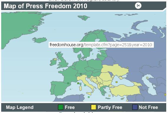 la libertà di stampa in EU nel 2010