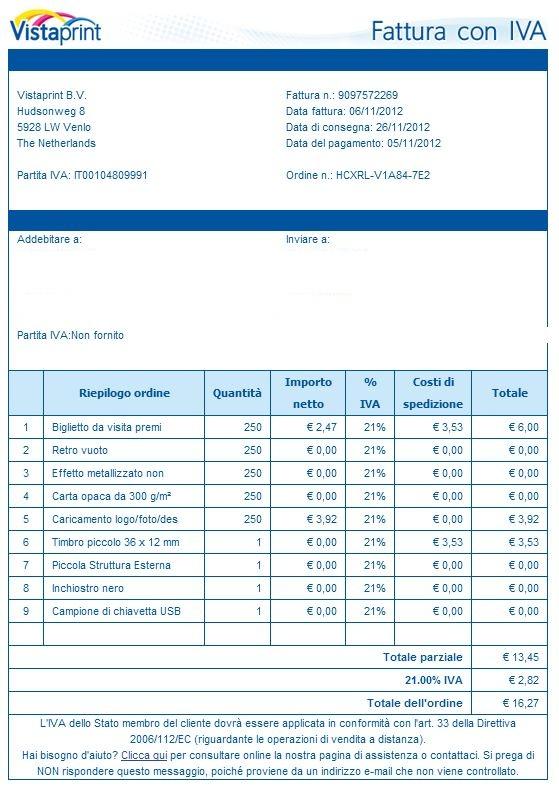 2012 fattura vistaprint