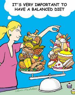 disegno ironico dieta bilanciata